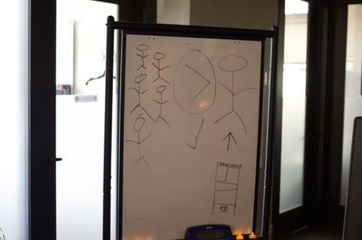 whiteboard diagram of a number of small stick figures > a single large stick figure next to a guillotine