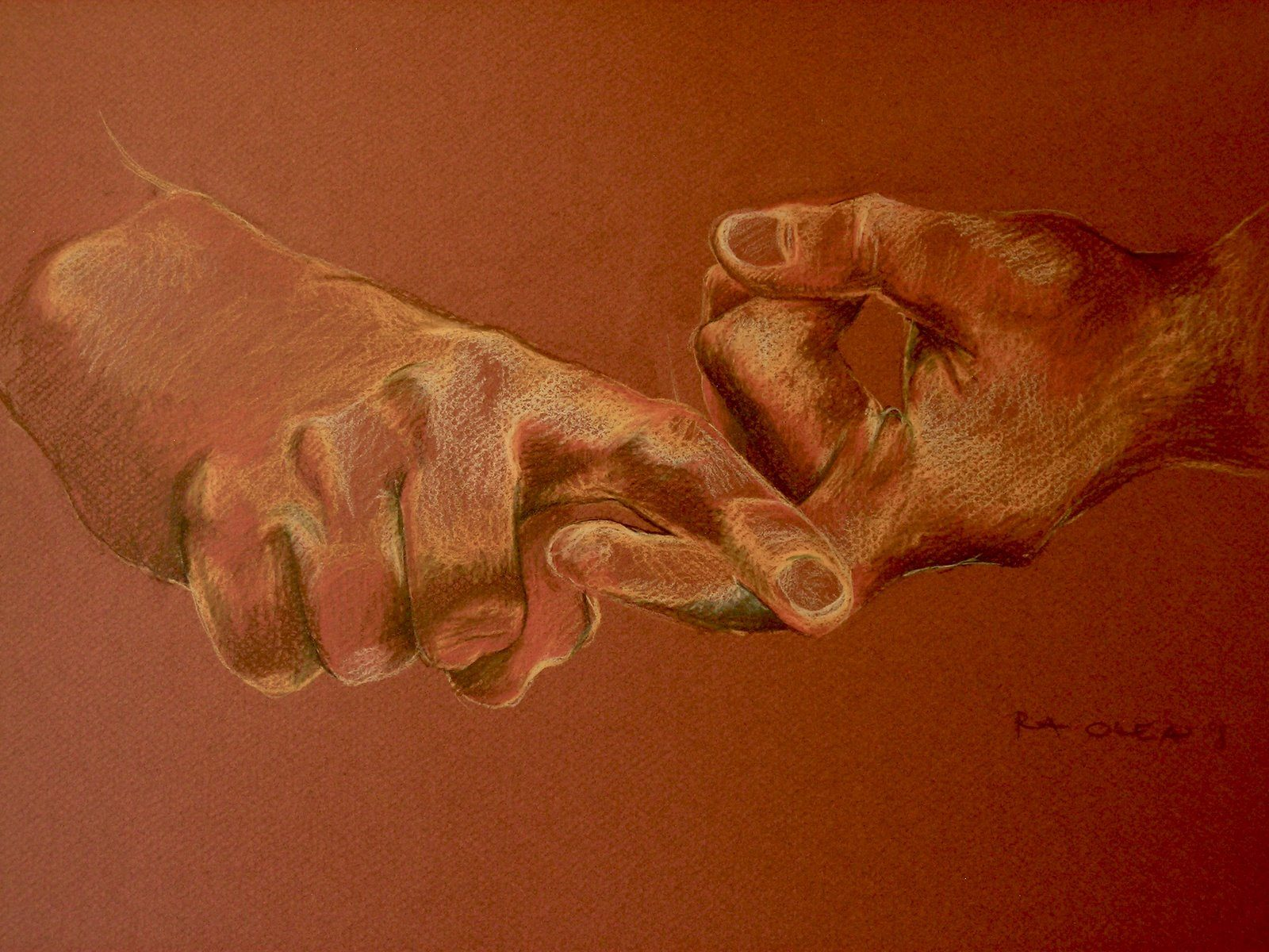 illustration of two hands making ASL gesture for Friend