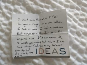Intense love letter on hotel stationery