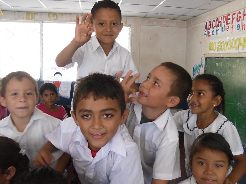 group of Nicaraguan schoolchildren in classroom
