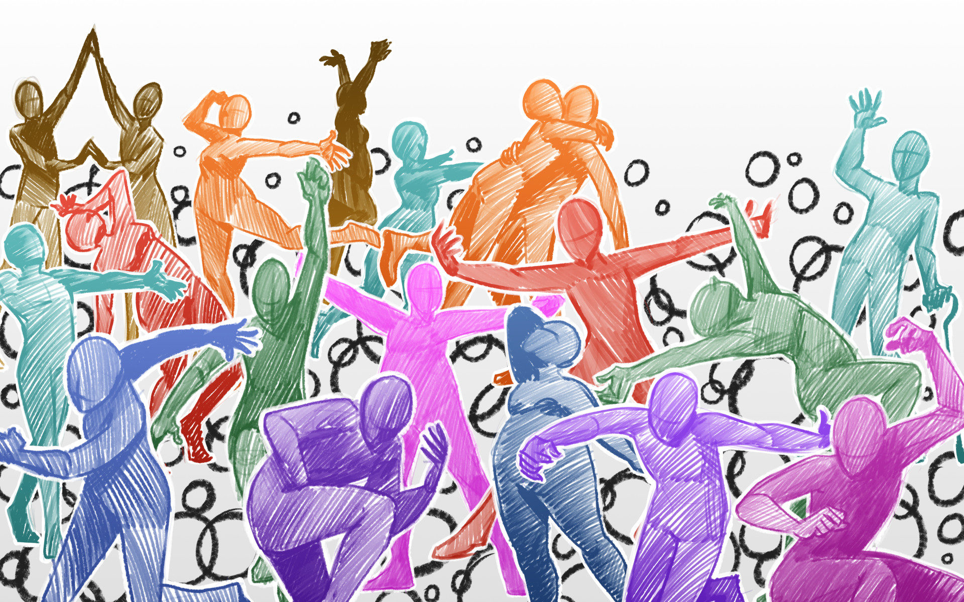 Illustration of a group of brightly colored abstract human figures in various dynamic poses